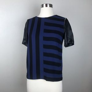 Sandro Women's Navy and Black Striped Top Blouse